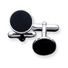 Sterling Silver Black Enameled Cuff Links