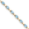 14k 7x5mm Oval Blue Topaz bracelet